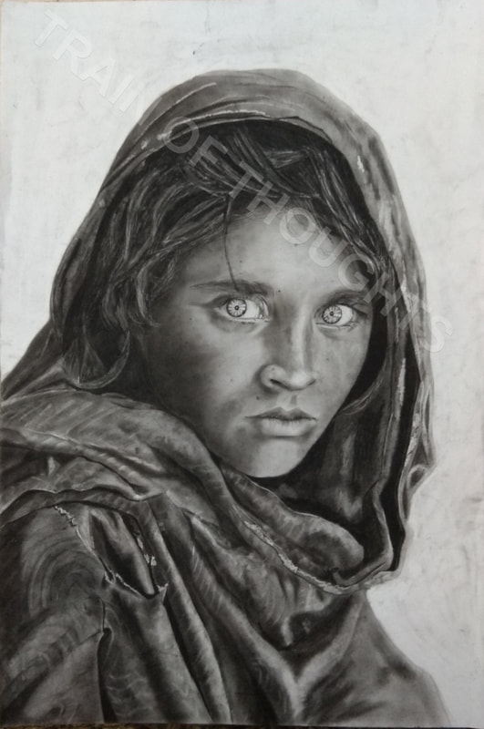 CHARCOAL SKETCH IS MY REPRODUCTION OF THE FAMOUS PHOTO Green Eyed AFGHAN GIRL TAKEN BY STEVE MCCURRY